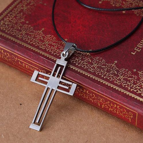 Men's 45-50cm Leather Cross Necklace