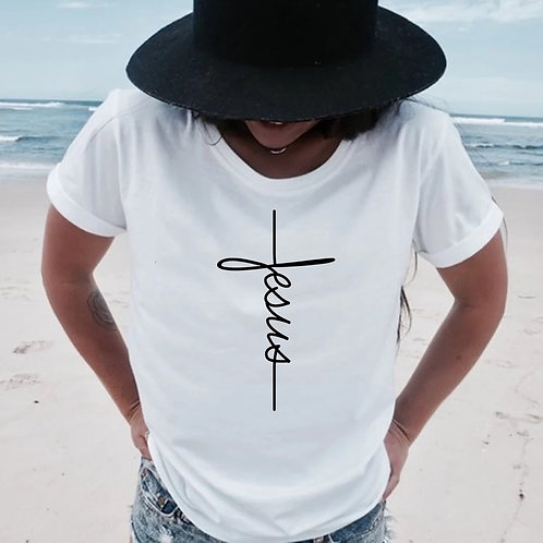 "Women's ""Jesus"" Cross T-shirt"