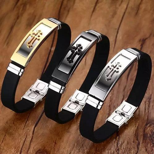 Men's Cuff Bracelet with Cross
