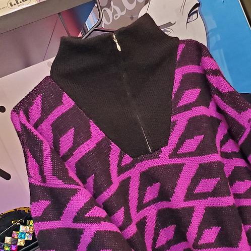 Geometric Sweater with Zip Collar