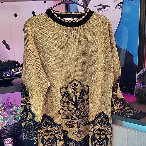 Metallic Gold Woven Sweater