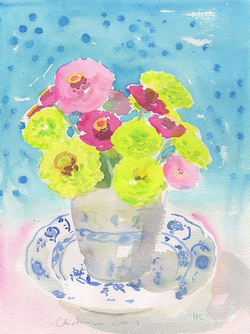 Anne Day|boutiqueART|Chartreuse Zinnias