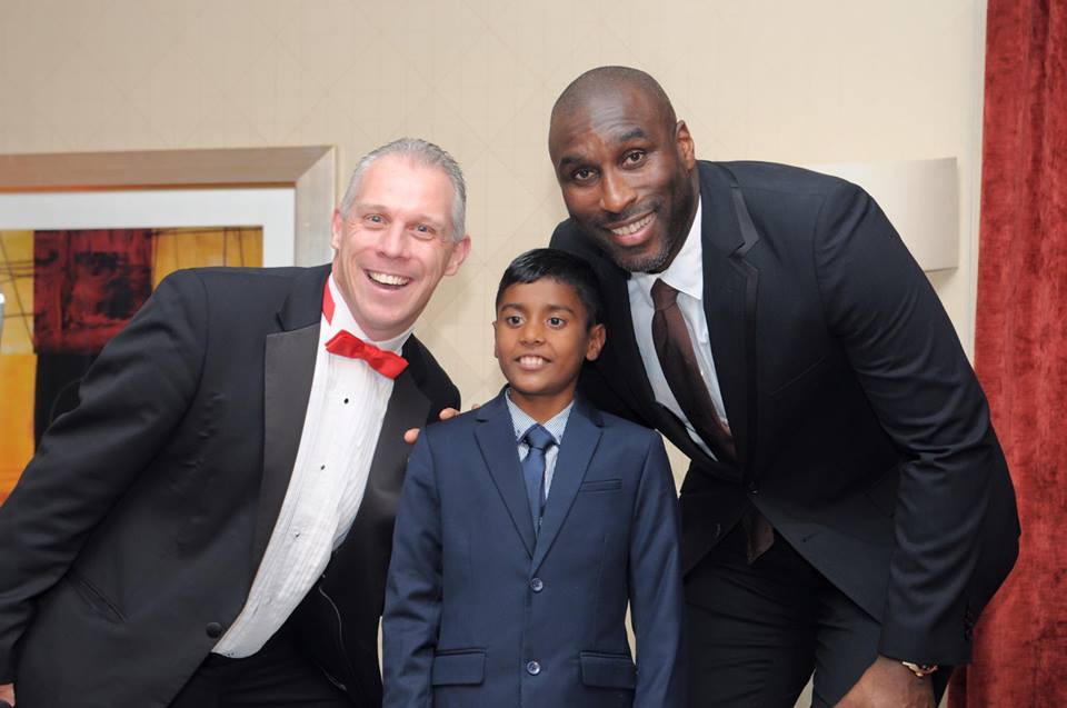 Sol Campbell and Raihan, one of our Sporting Wish recipients