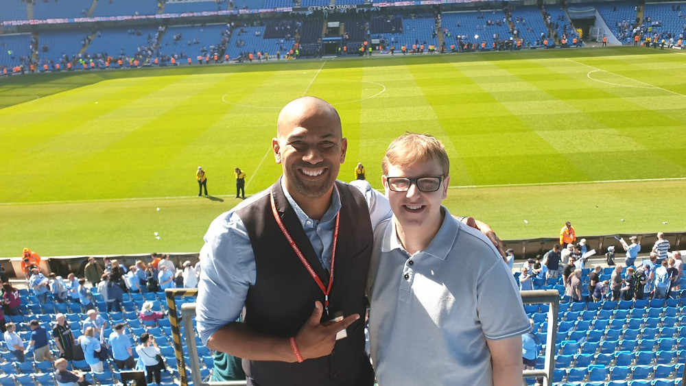 Junior and Connor showing us the incredible view they had from the Executive box they watched the match in