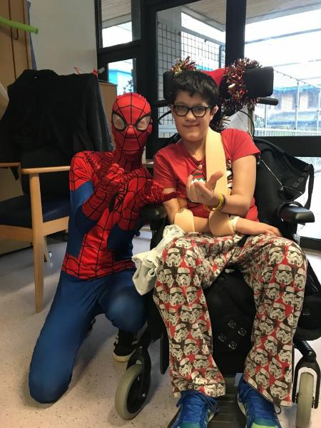 Spiderman and child in hospital