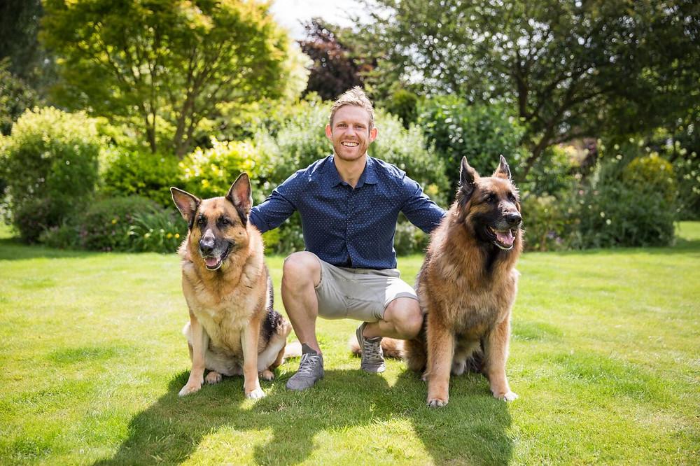 Craig with his 2 'other' children, the Alsatians