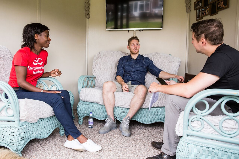Chatting to Craig in the summer house
