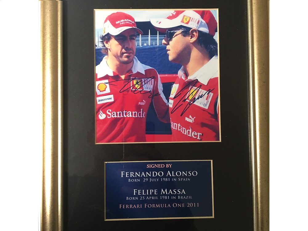 Singed and framed picture of Fernando Alonoso and Felipe Massa