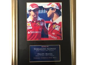 Singed and framed picture of Fernando Alonoso and Felipe Massa