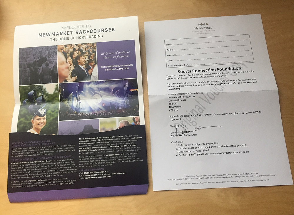 2 premier tickets to Newmarket Races