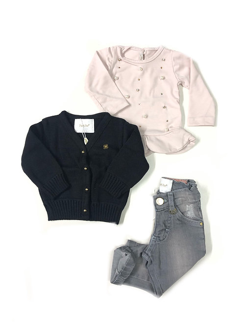 Cardigan + Blusinha + Calça