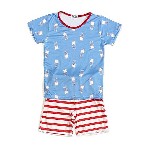 Pijama de Leitinho com Shorts Listrado