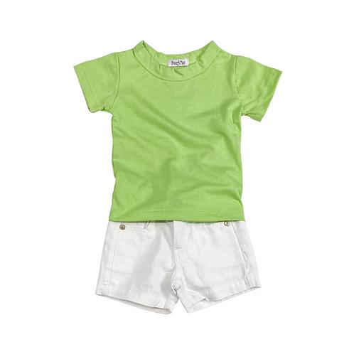 Conjunto de Camiseta e Shorts de Sarja Branco