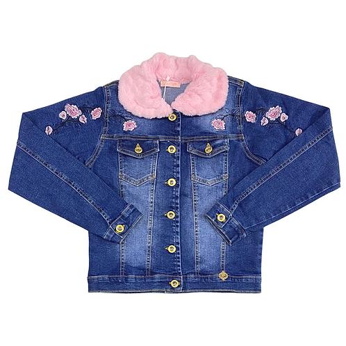 Jaqueta Jeans de Flores com Gola Rosa