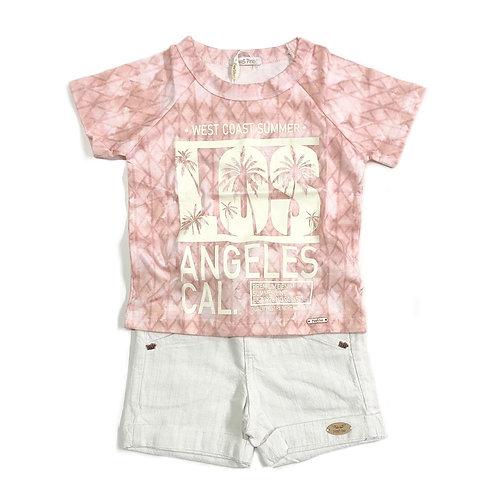 Camiseta com Estampa e Shorts Crú