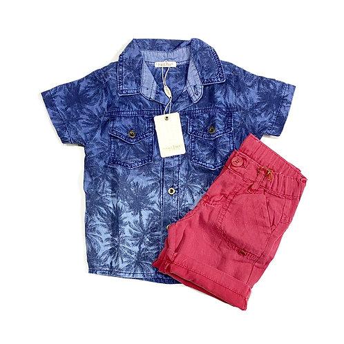 Camisa Jeans Tropical e Shorts Vermelho