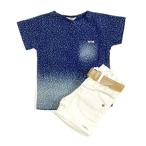Camiseta Estampada e Shorts Offwhite