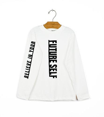 Camiseta Offwhite com Aplicação Preta