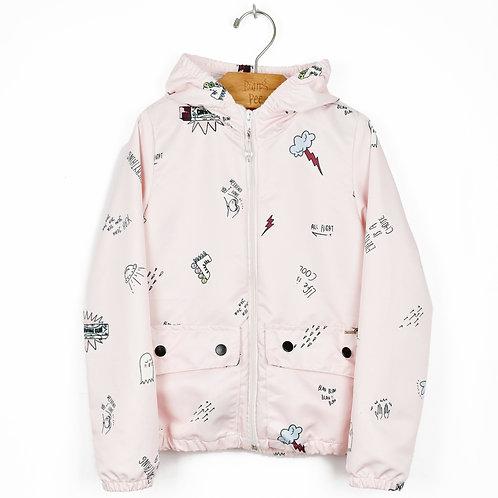 Jaqueta Corta Vento Rosa Estampada