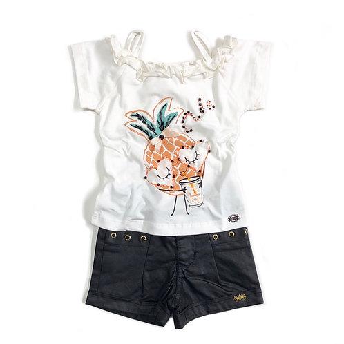 Blusinha de Abacaxi e Shorts Preto Resinado