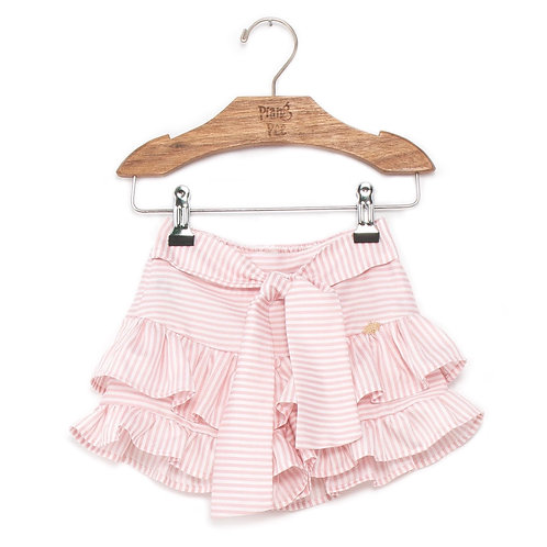 Shorts Saia Rosa e Branco