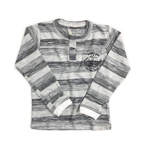 Camiseta Listrada Cinza com Punhos Offwhite