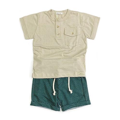 Camiseta Flamê e Shorts de Malha