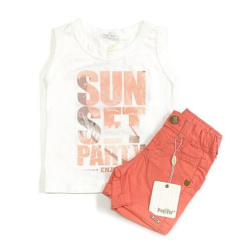 Regata Sunset e Shorts Laranja