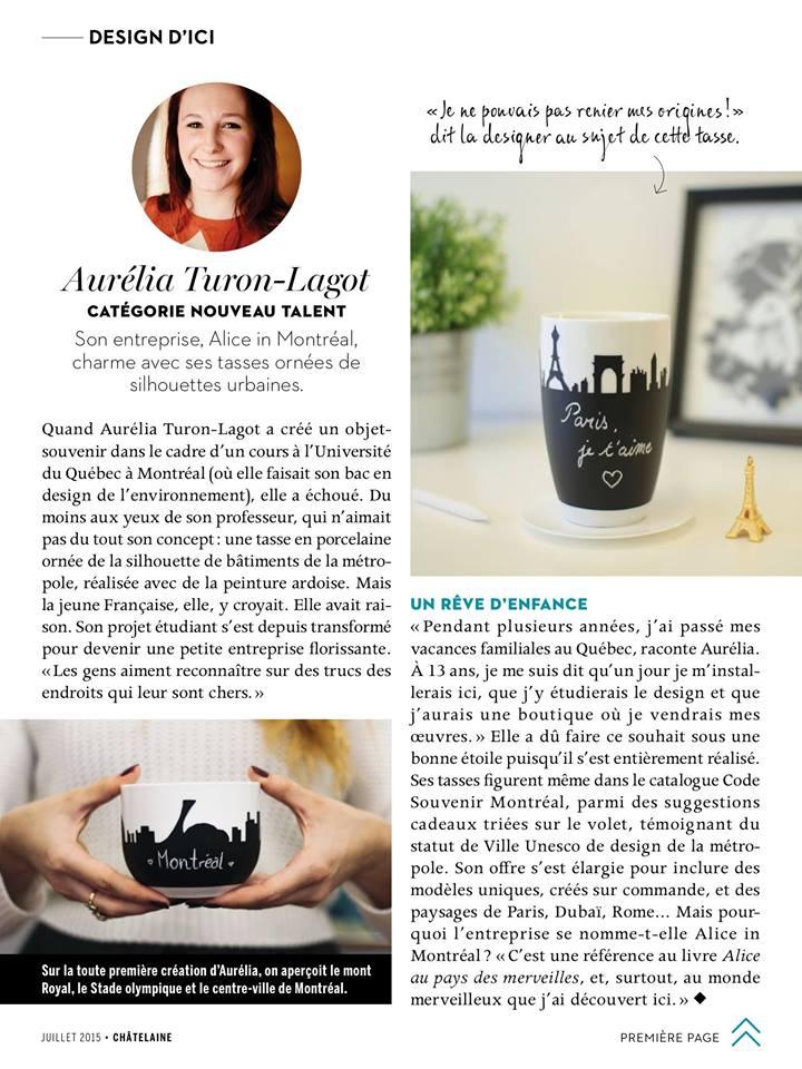 Magazine Châtelaine de Juillet