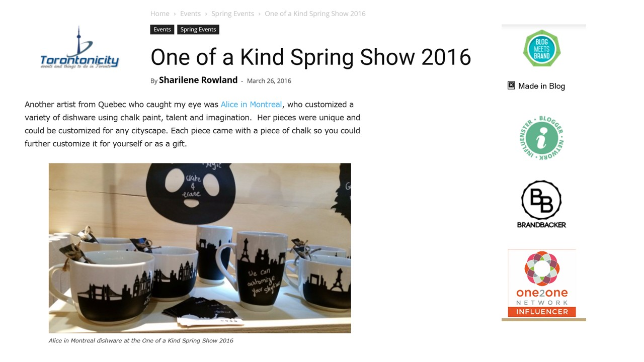 Blog Torontonicity, 26 mars 2016