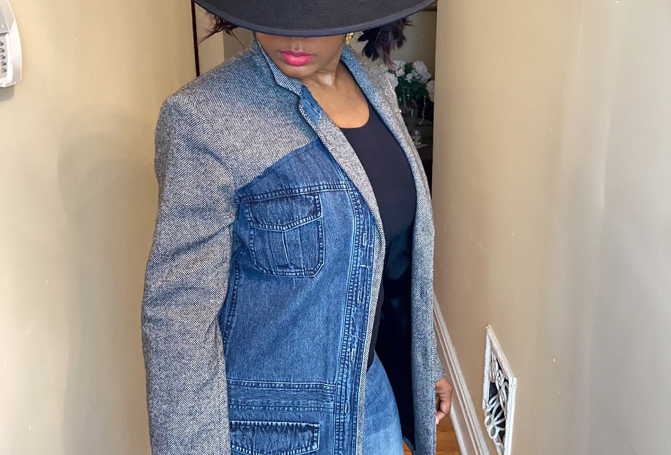 Tweed patchwork blazer