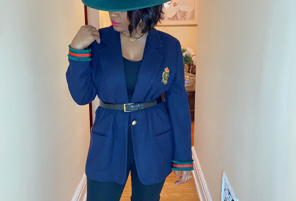 Navy Crest Blazer