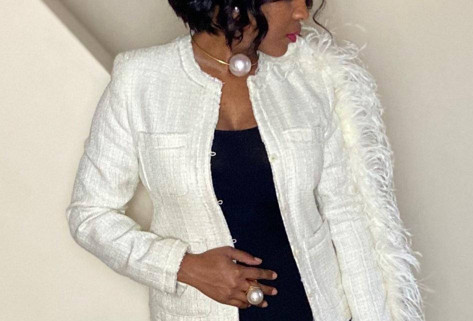 Tweed Feather Sleeve Blazer