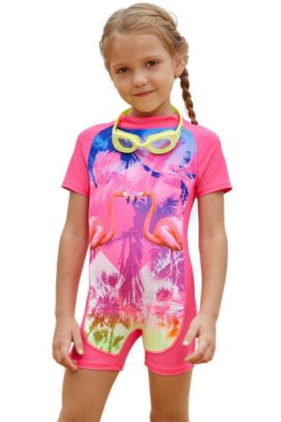 Pink Flamingo Love One Piece Swimsuit for Little Girl