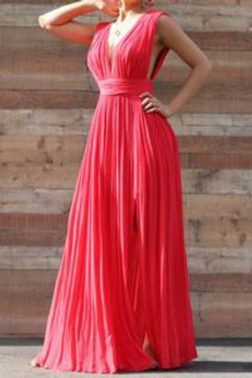 Maxi Dress with Slit-Lined - Rose