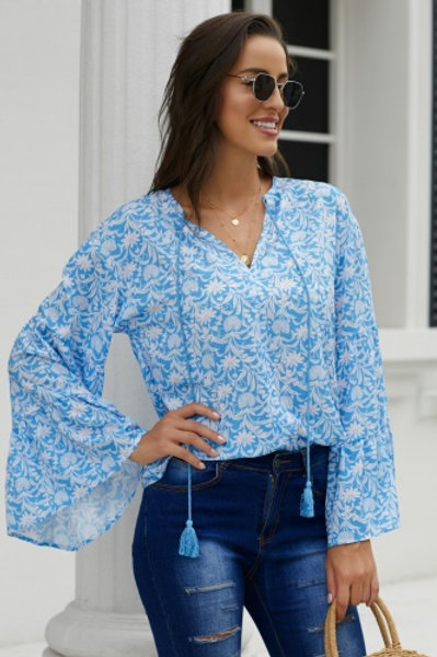 Sky blue chiffon V Neck printed bell sleeve blouse