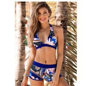 Sexy Split Printed High Waist Bikini
