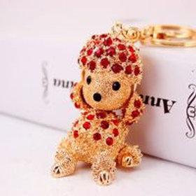 Rhinestone Puppy Cute Poodle Animal l Keychain
