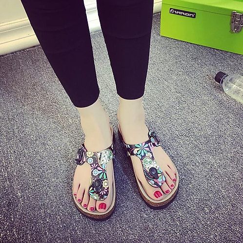 Women casual print cork beach slipper sandal