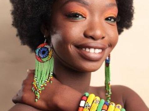 African beaded tassel earring
