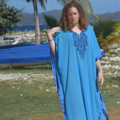 Embroidered front long caftan.