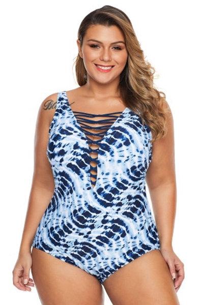 Plus Size Blue Neck Detail One Piece Swimsuit