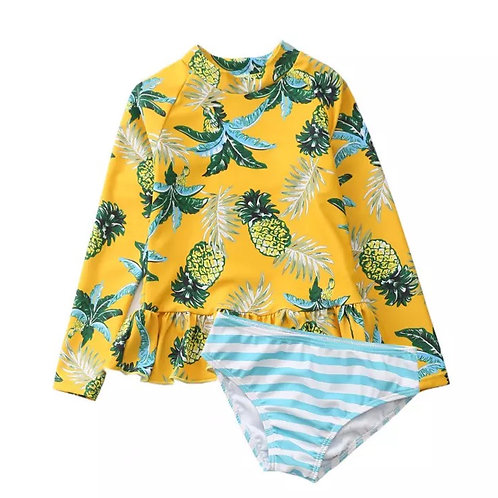 Long Sleeve Kids Swimsuit Sun Protection