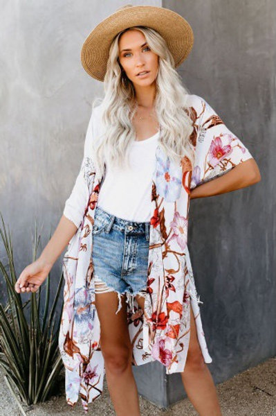 Multicolor Kimono Sleeve Floral Print Graceful Cover Up