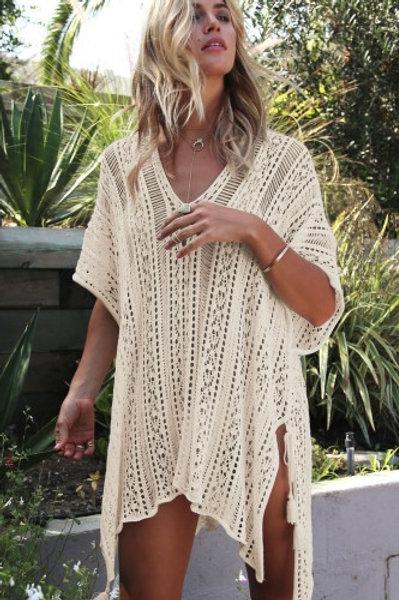 Apricot Crochet Knitted Tassel Tie Kimono Beachwear