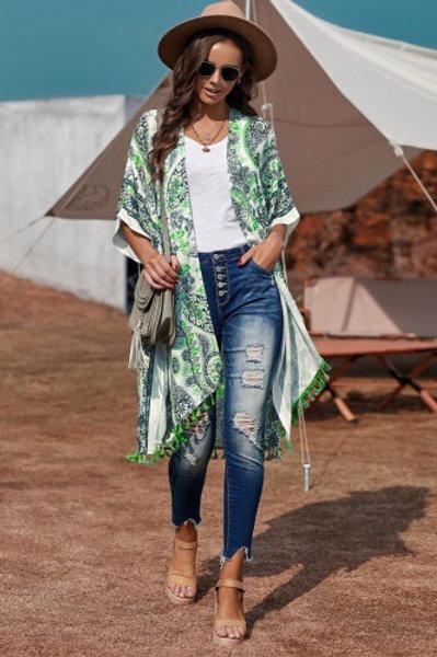 Boho Paisley Print Kimono Beach Cover up with Tasse