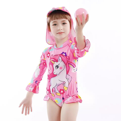 Kids Girls unicorn print  Long  Sleeves Swimsuit  One-piece UV Rash Guard