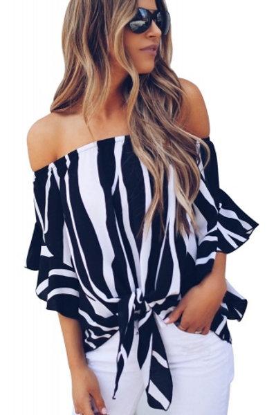 Flirty off shoulder stripe blouse