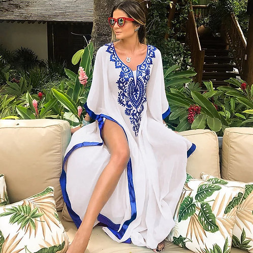 Embroidered front long caftan