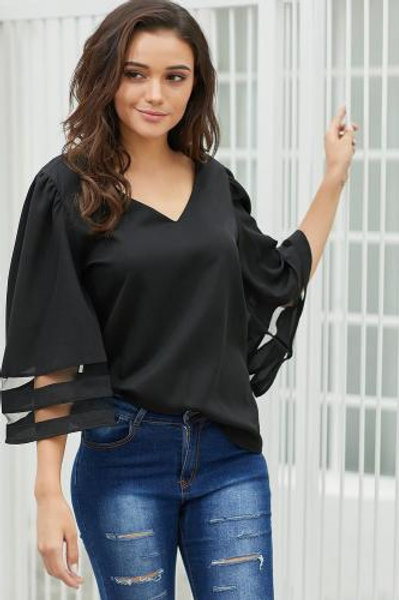 V-neck bell sleeve top
